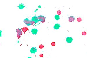 Abstract red green ink splash