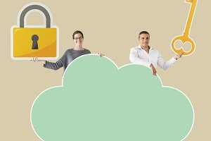 People holding cloud and security ic
