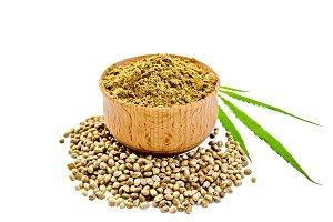 Flour hemp in bowl isolated