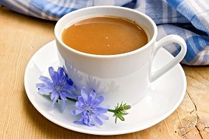 Chicory drink in white cup
