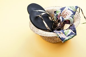 Summer vacation set - hat, bikini and flip flop
