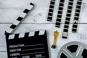 Clapperboard and coil with film