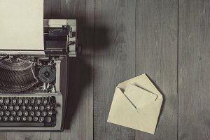 Old typewriter and letter