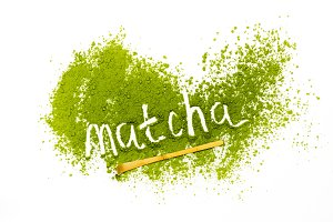 Word matcha made of powdered matcha green tea
