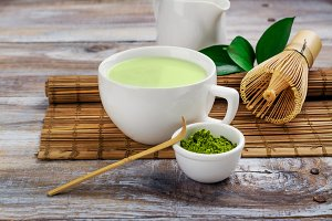 Matcha green tea latte in a cup