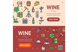 Wine Drink Banner Set. Vector