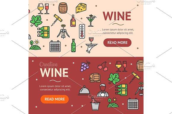 Wine Drink Banner Set Vector