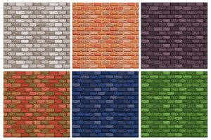 seamless texture, different color stone Brick wall