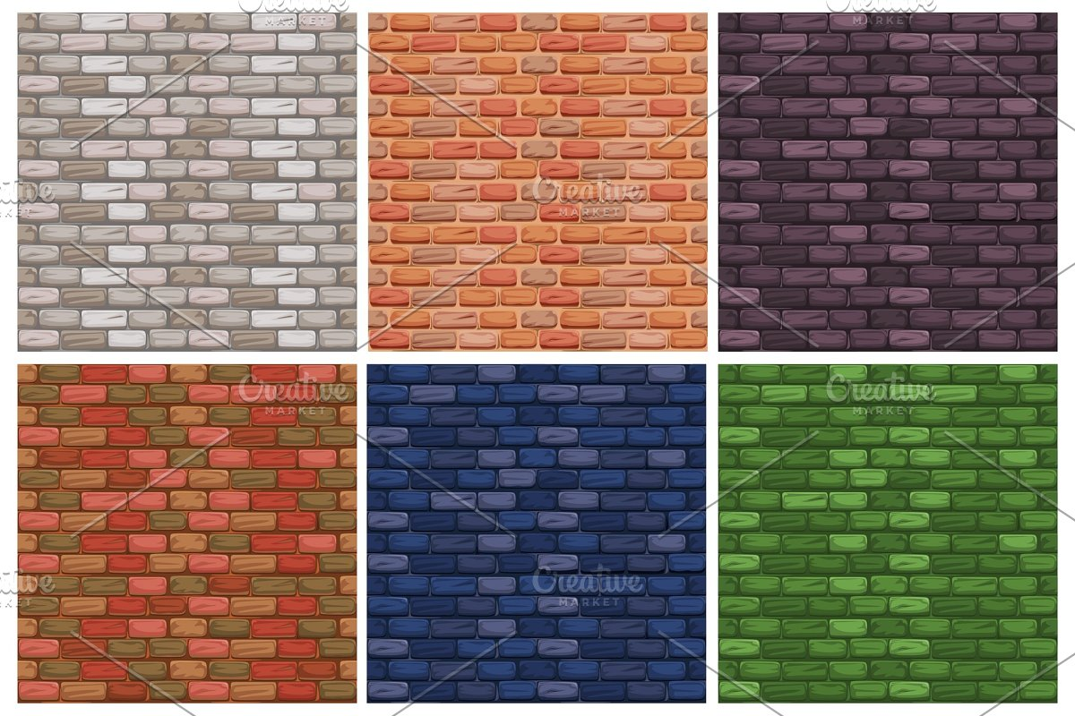 Seamless Texture Different Color Stone Brick Wall Textures