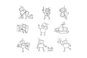 Sketch robot set character with business. House cleaning. Dog walking. Different situations. Hacking a computer. Hand drawn black line vector illustration.