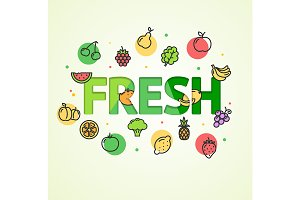 Fresh Vegetable and Fruit Concept