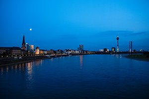 Night view of the city of Duesseldorf