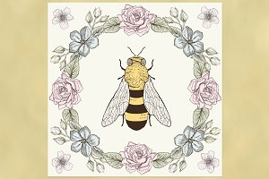 Bee and Floral Wreath