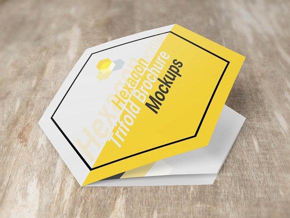 Hexagon Trifold Brochure Mockups