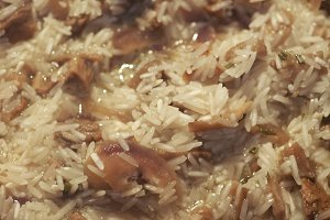 mushrooms risotto with basmati rice