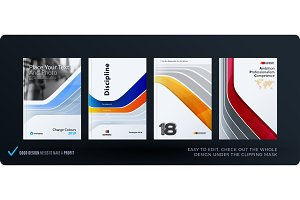 Template. Creative abstract minimal design of brochure set, annual report, horizontal cover, flyer in A4