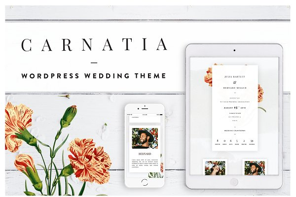 WordPress Wedding Themes: DigitalFlorist - Carnatia WordPress Wedding Theme