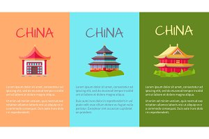 China Collection of Buildings on Three Pictures