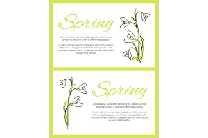 Spring Posters Set Green on Vector Illustration