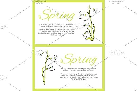 Spring Posters Set Green On Vector Illustration