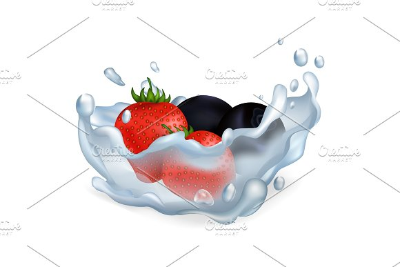 Strawberries And Blueberries In Water Illustration