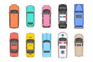 Different Cars. Top View