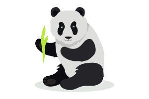 Panda Cartoon Flat Vector Illustration