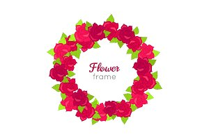 Flower Frame. Circle Wreath of Various Blossoms