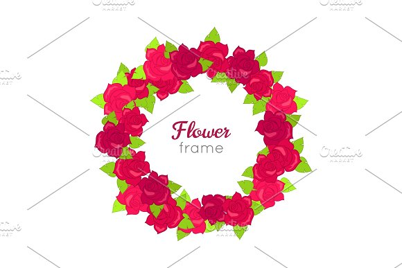 Flower Frame Circle Wreath Of Various Blossoms