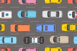 Top view of different cars pattern