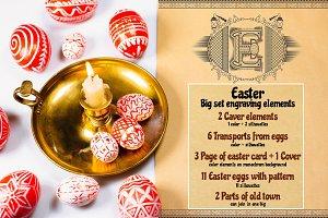 Set of engravings Easter elements