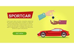 Buying Sportcar Online. Car Sale. Web Banner.