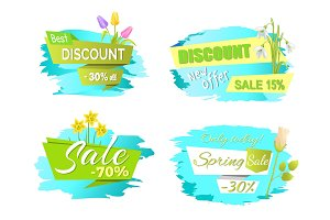 Discounts Spring Sale Labels Tulip Flowers, Promo