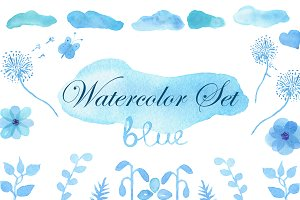 Watercolor Blue Set