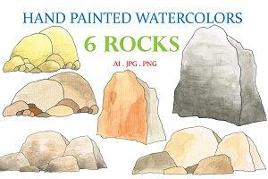 Hand Painted Watercolors 6 Rocks