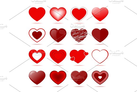 Red Hearts Icons In Different Style
