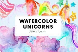 26 Watercolor Unicorn Illustrations