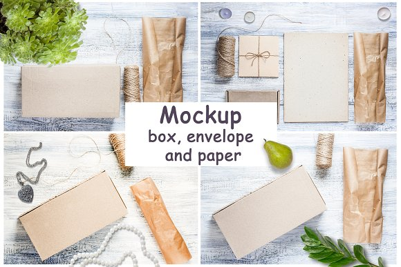 Mockup of box, envelope and paper