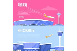 Airplane arrival and airport registration flyers
