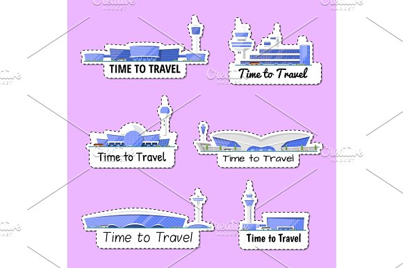 Time To Travel Isolated Labels Set
