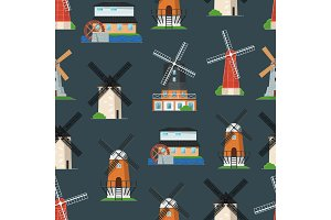 Seamless pattern with traditional old windmill