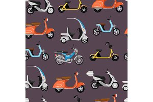 Seamless pattern with motor scooters