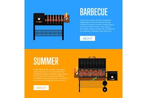 Summer barbecue party flyers with meats on grill