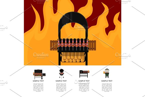 Barbecue Food Poster With Meat Skewers On Grill