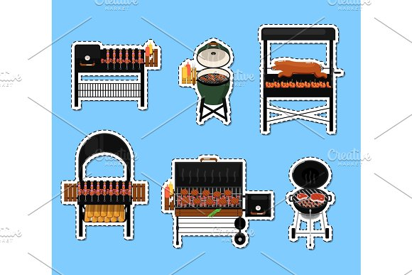 Barbecue Grill With Food Isolated Labels Set