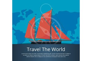 Travel the world poster with sailboat
