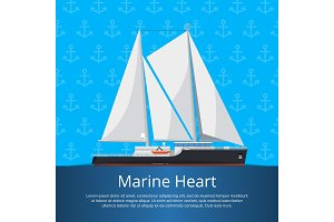 Marine heart poster with luxury yacht