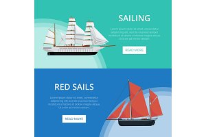 Sailing posters with old sailboats