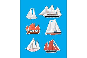 Sea sailboats side view isolated labels set