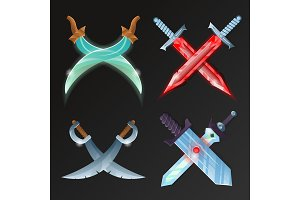 Vector set of crossed medieval swords
